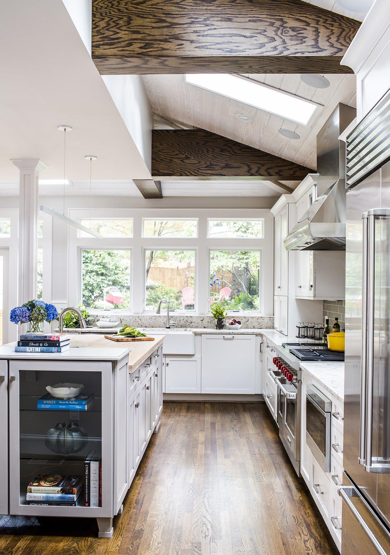 White Regina Kitchen with Blue Accent Pieces