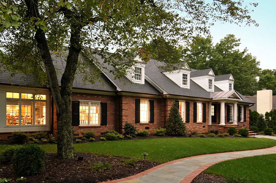 exterior of custom single story brick high country home
