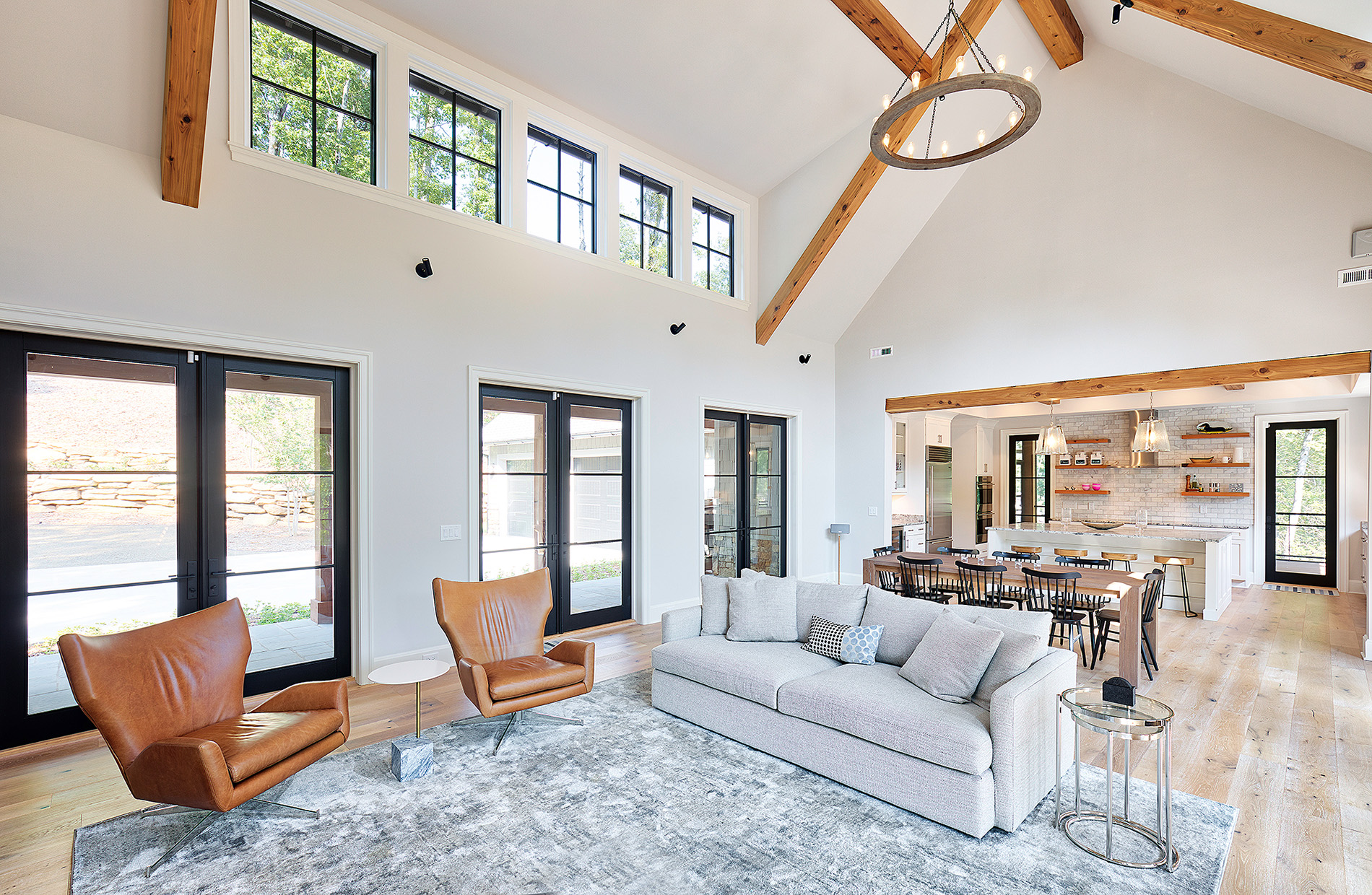 hickory custom home modern lake house open living space