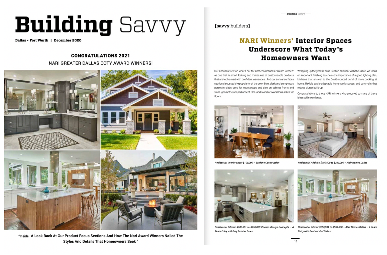 D Home & Building Savvy Feature Alair Plano's NARI North Texas 2021 CotY Award Wins