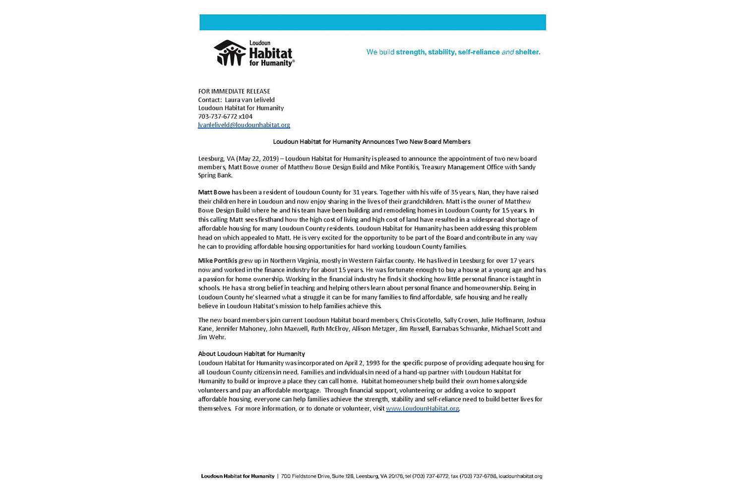 Loudon Habitat for Humanity Announces Two New Boards Members