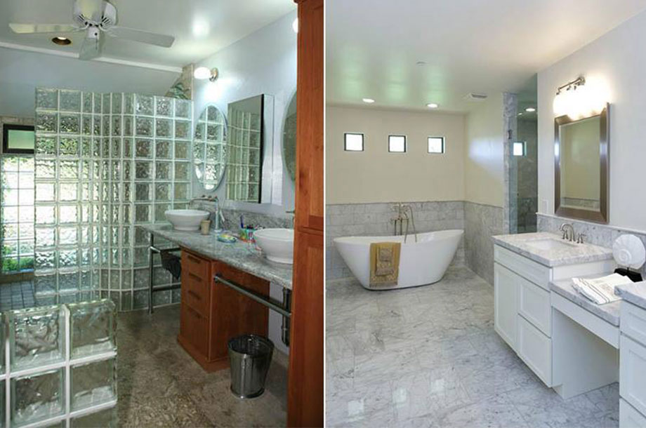 Before and After of Modernized Bathroom