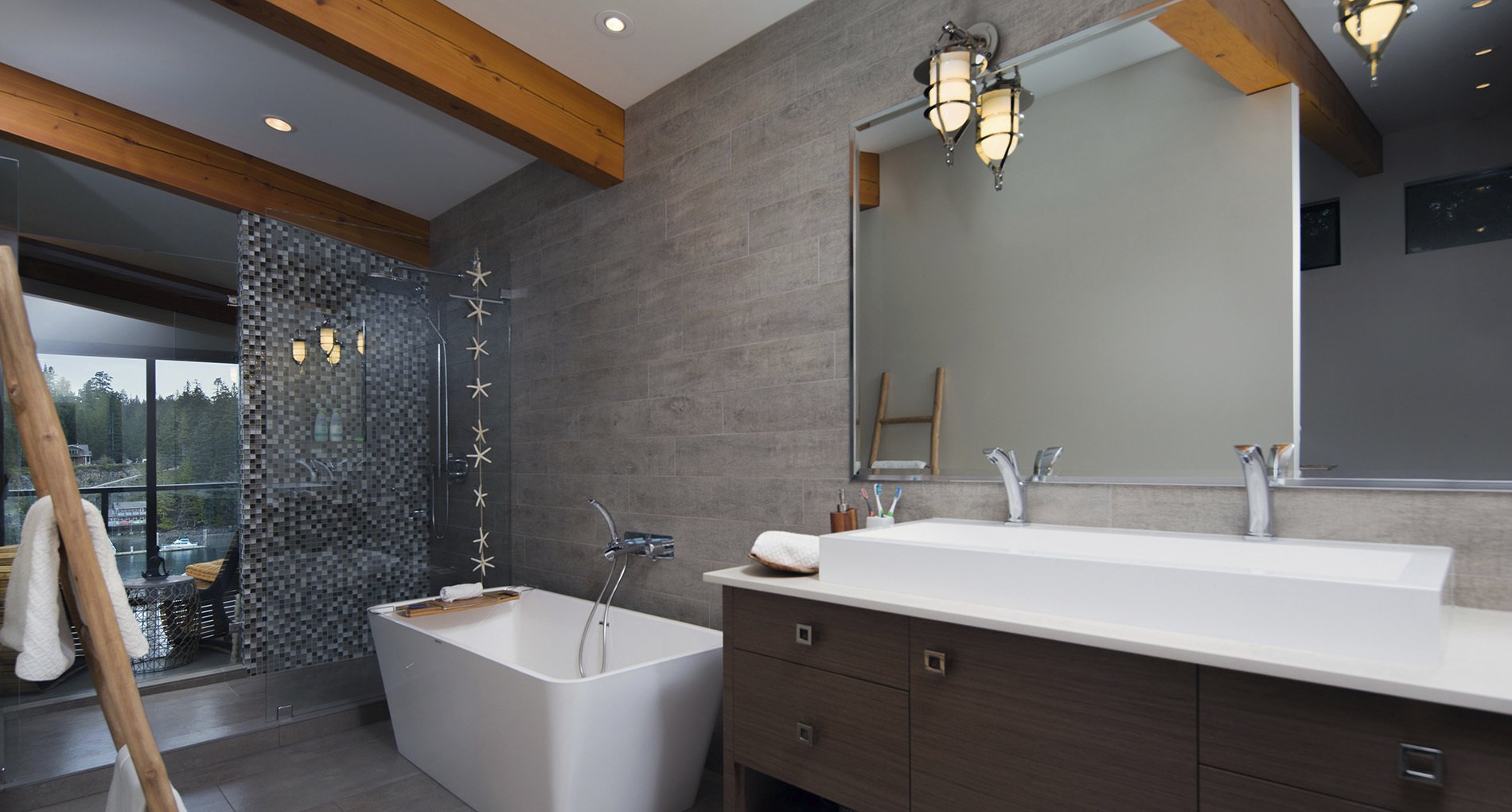custom spa bathroom with destination tub glass dividers and wood accents