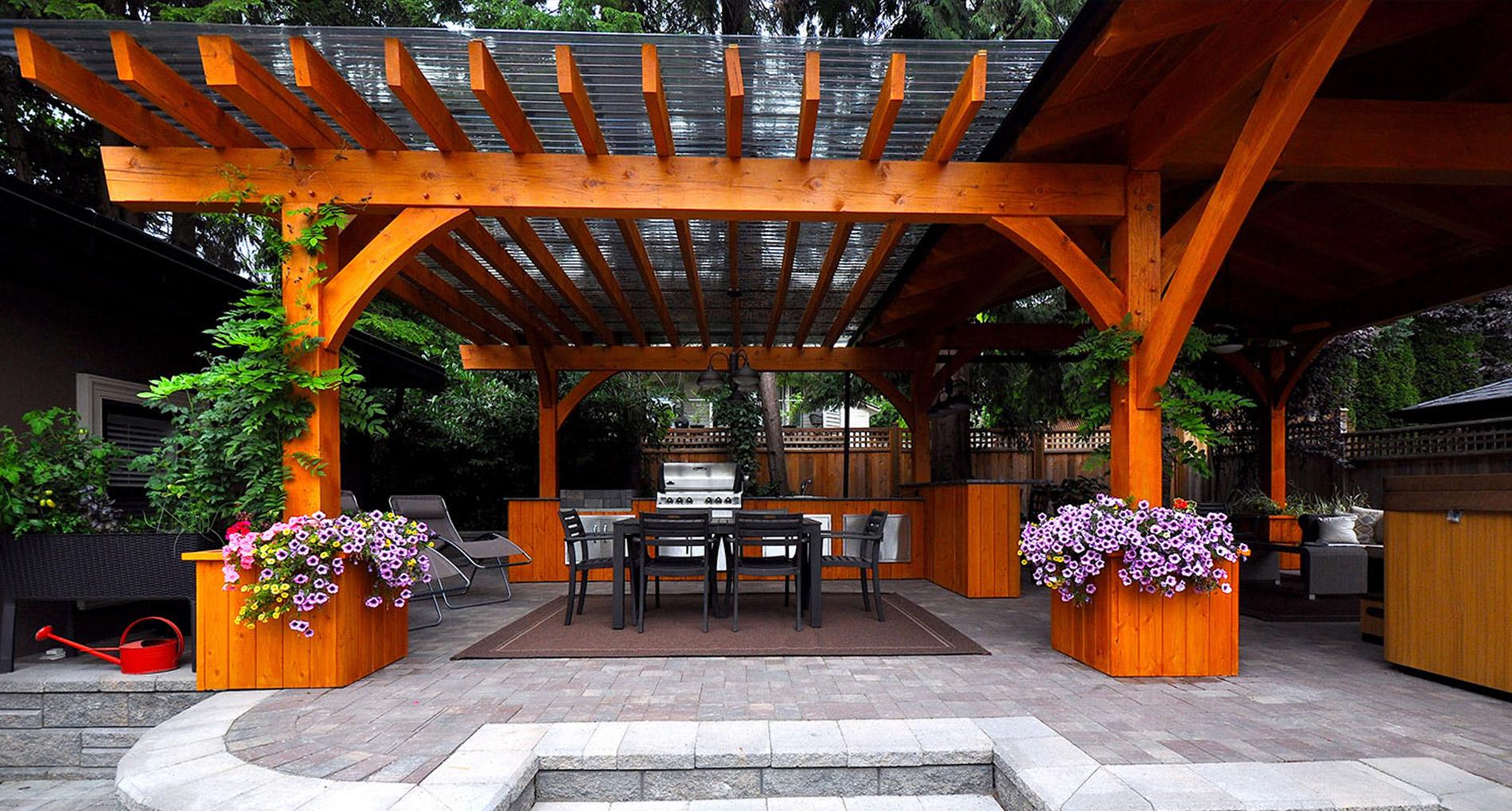 Cedar Timber Pavilion Outdoor Kitchen