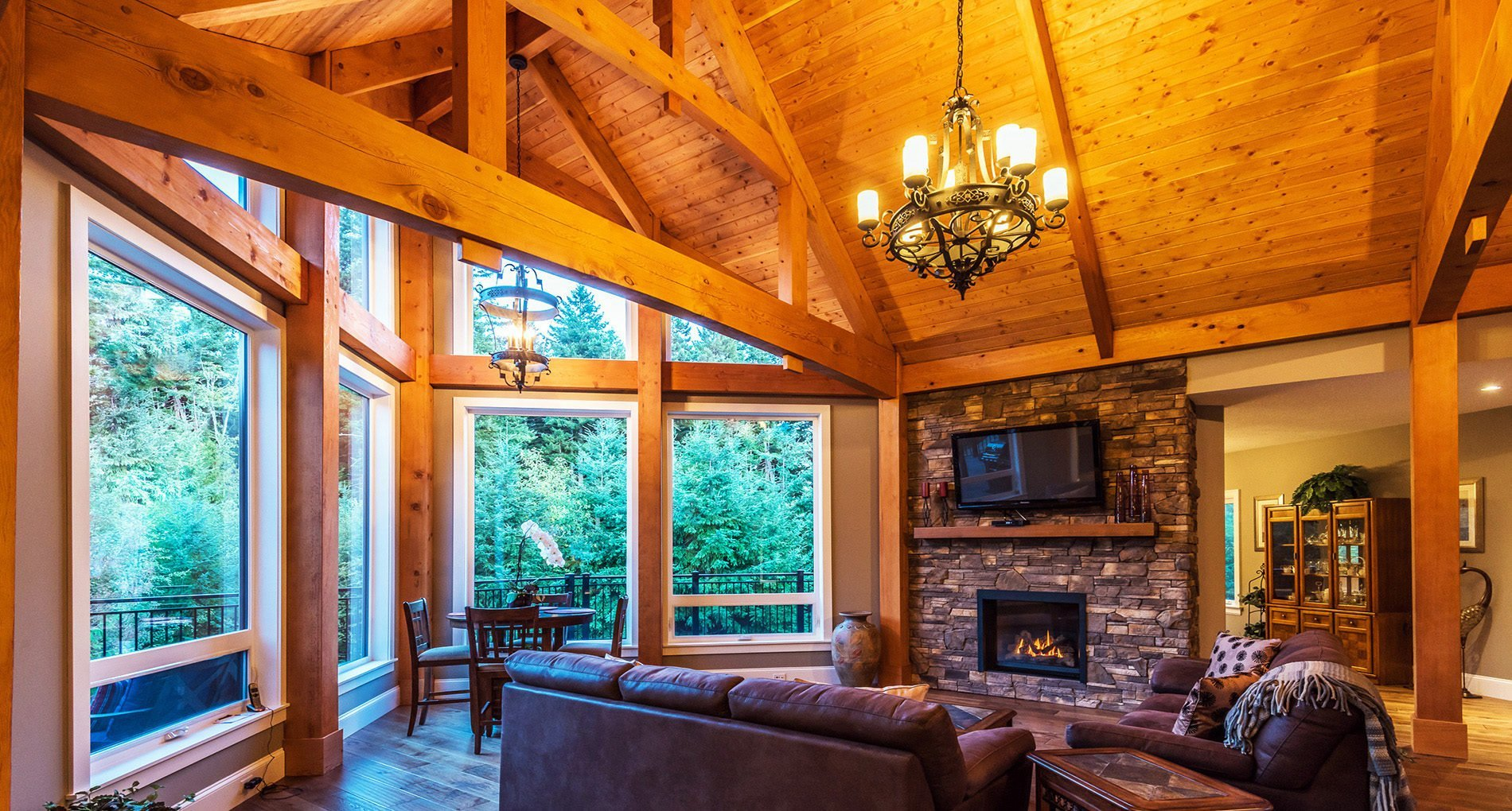wood beams custom home in nanaimo