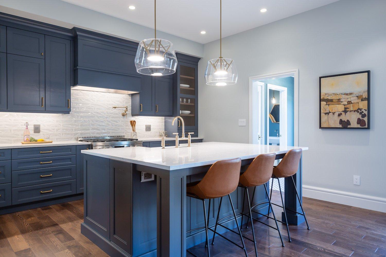 Blue Lower Cabinets Accent South Etobicoke Kitchen