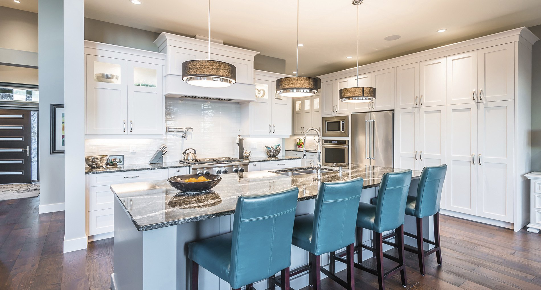 Blue Upholstered Seating in Neutral Delta Kitchen