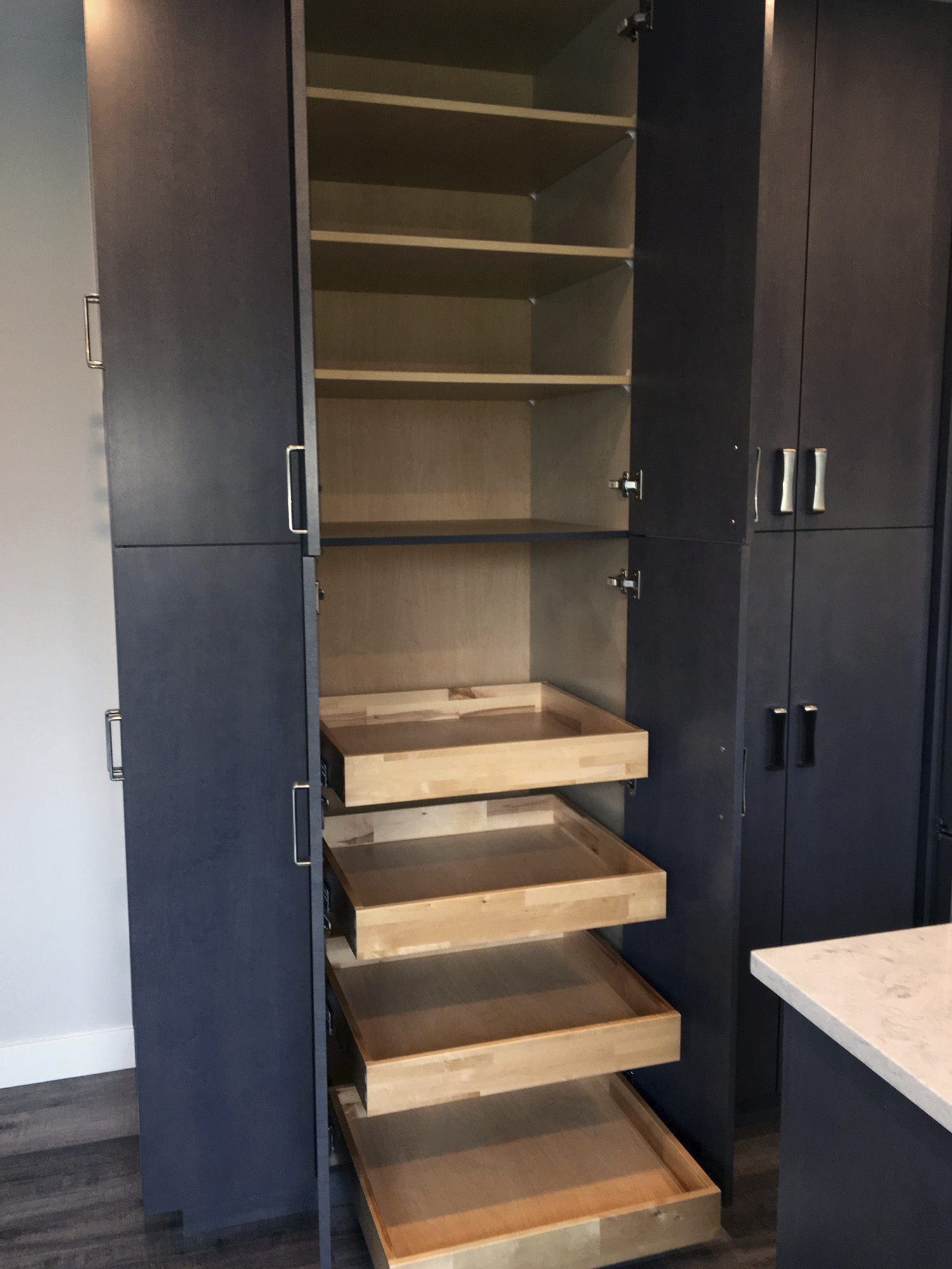 cabinet closet with flat pull out drawers