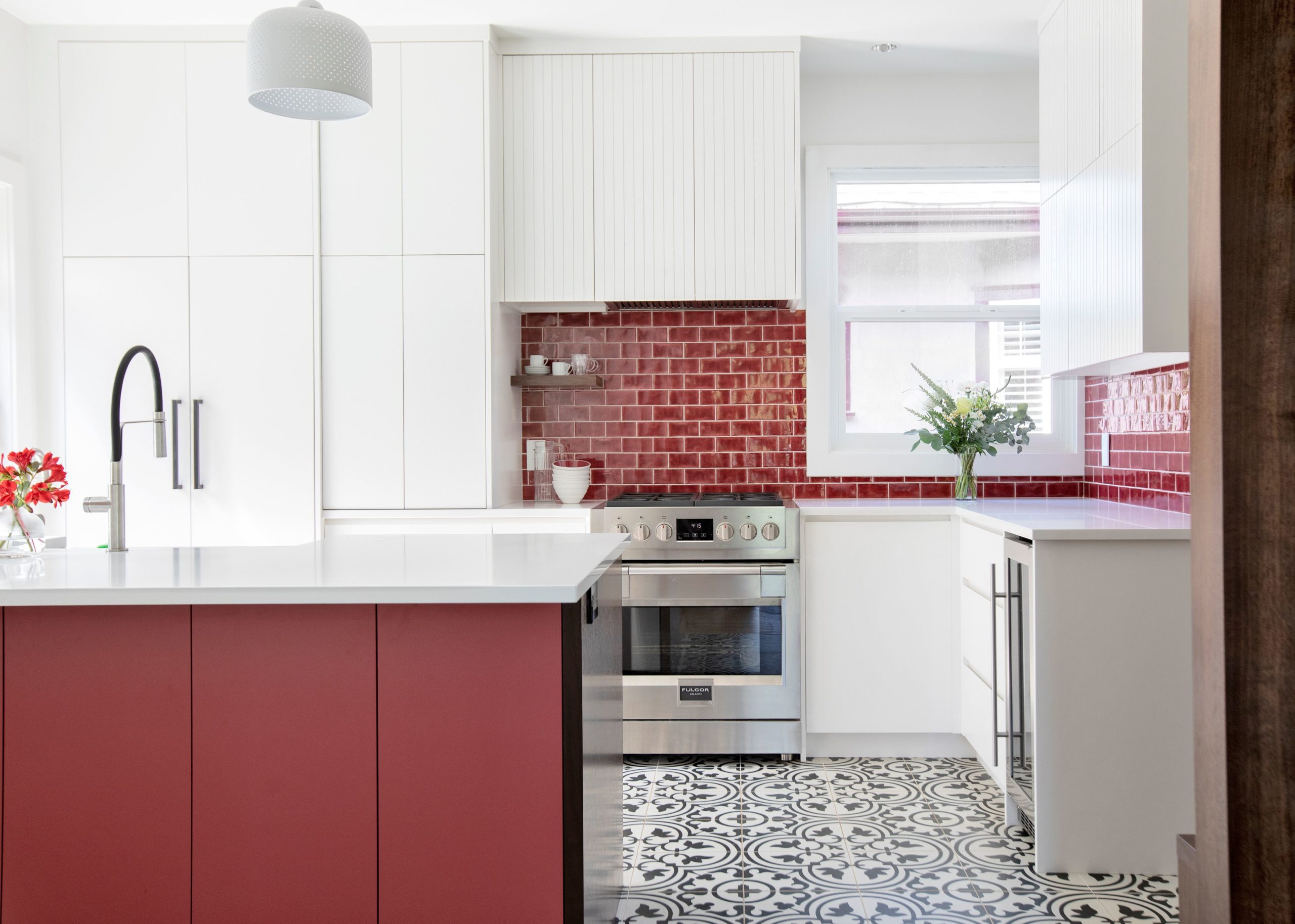 red kitchen interior