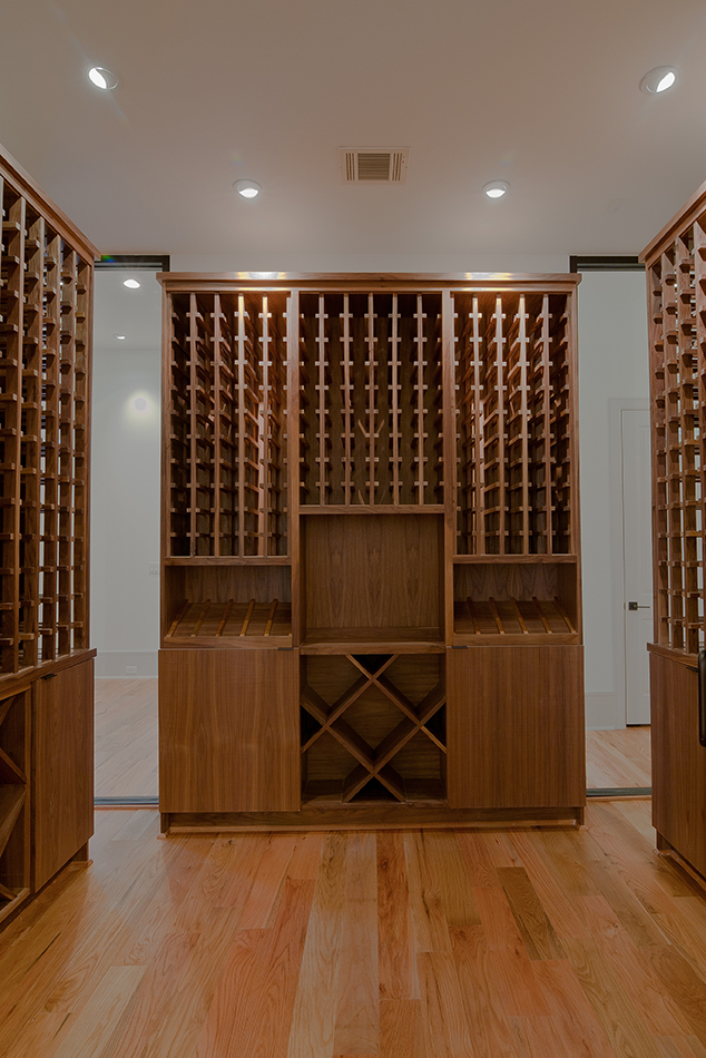 custom wine room with built in shelving