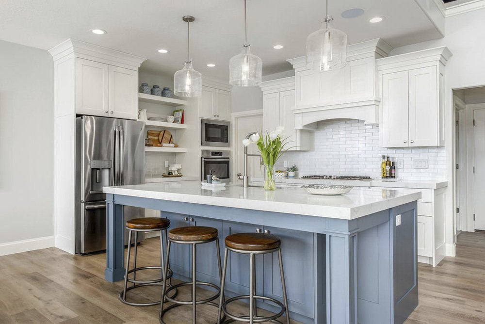 Cool-Toned Blue for Camrose Lower Kitchen Cabinets