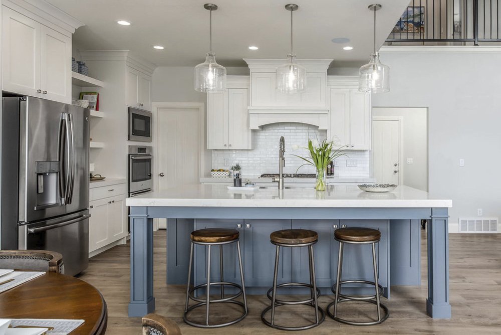 Grey Blue Kitchen Island