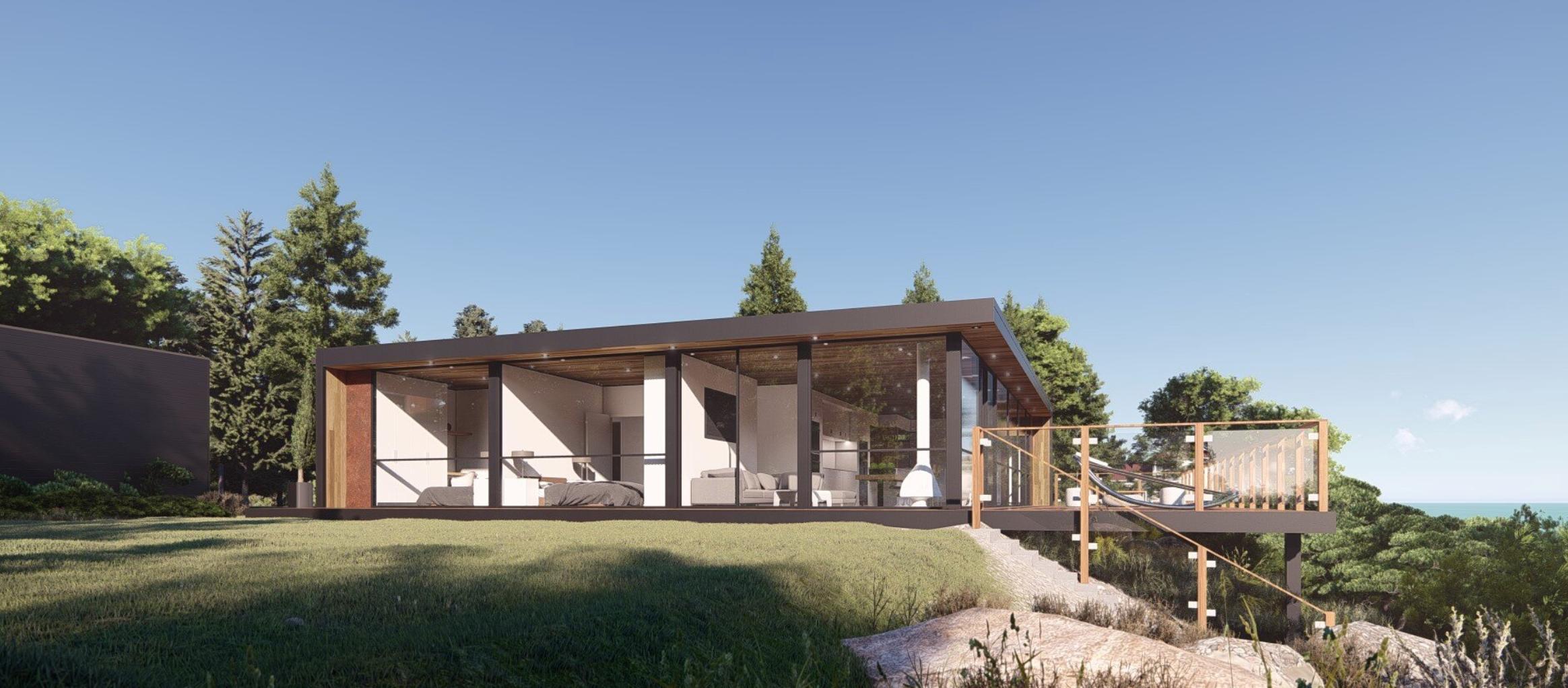 Exterior, clifftop modular home