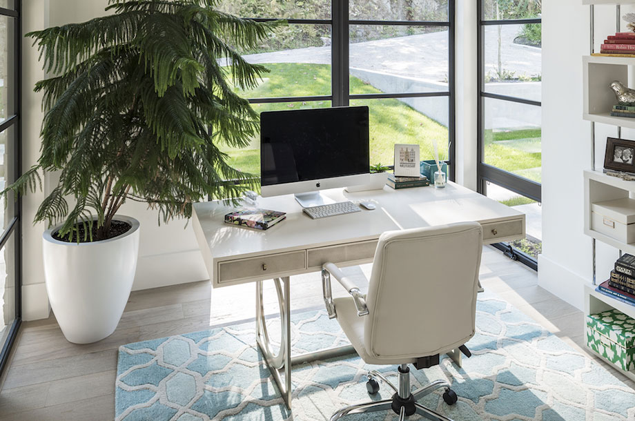 custom homework space or office area with desk against window