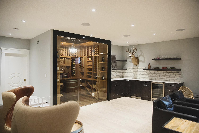 custom wine cellar built in modern sitting area