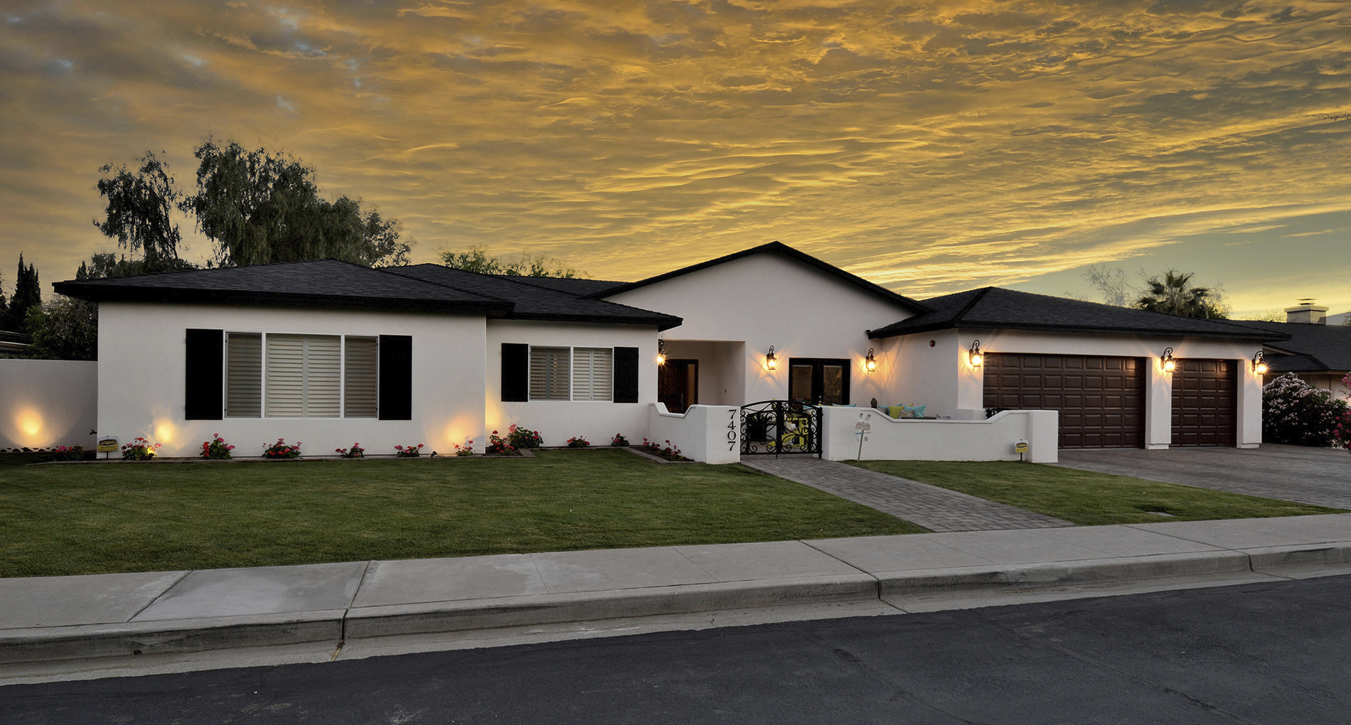 Custom Home Glowing in Chandler Sunset