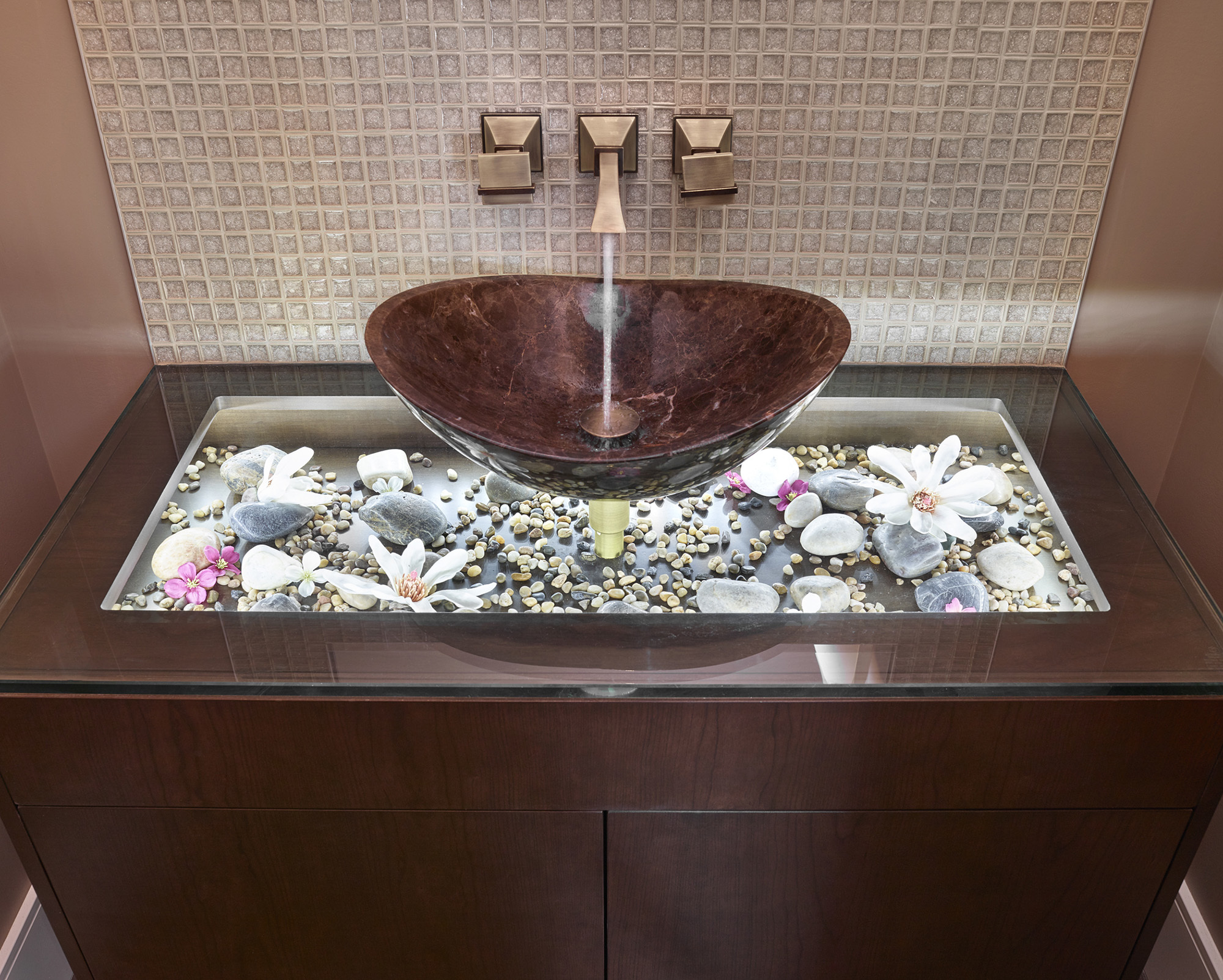 sink with glass base for decorative spa like feel