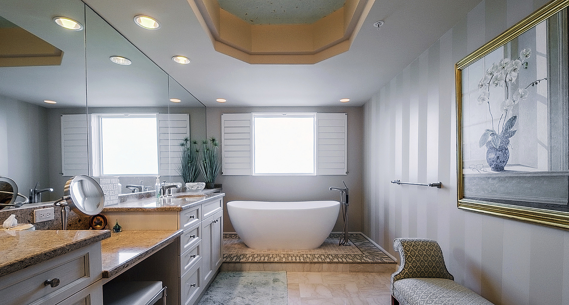 spa style custom all white bathrooms with oak ceiling inset and destination tub