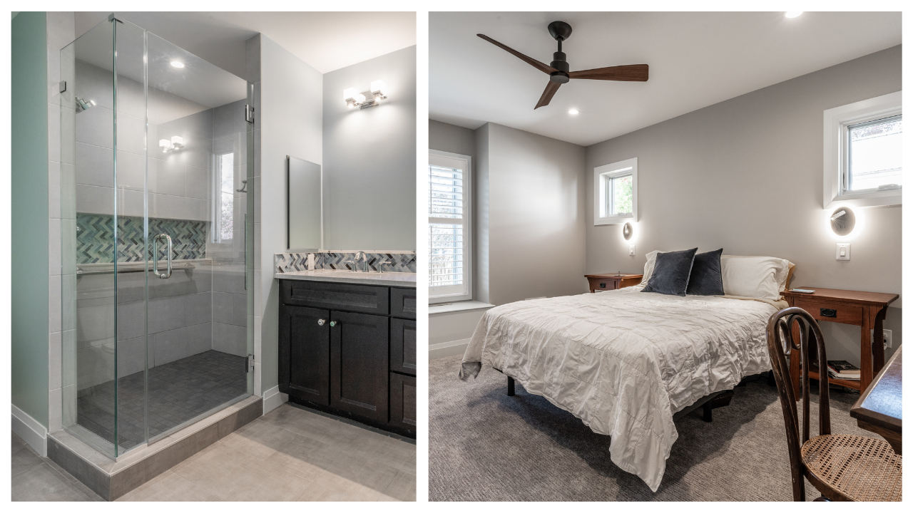 bathroom and master bedroom of remodeled home