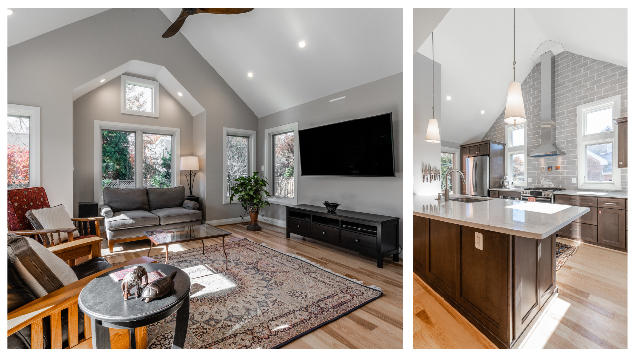 living room and kitchen of remodeled home