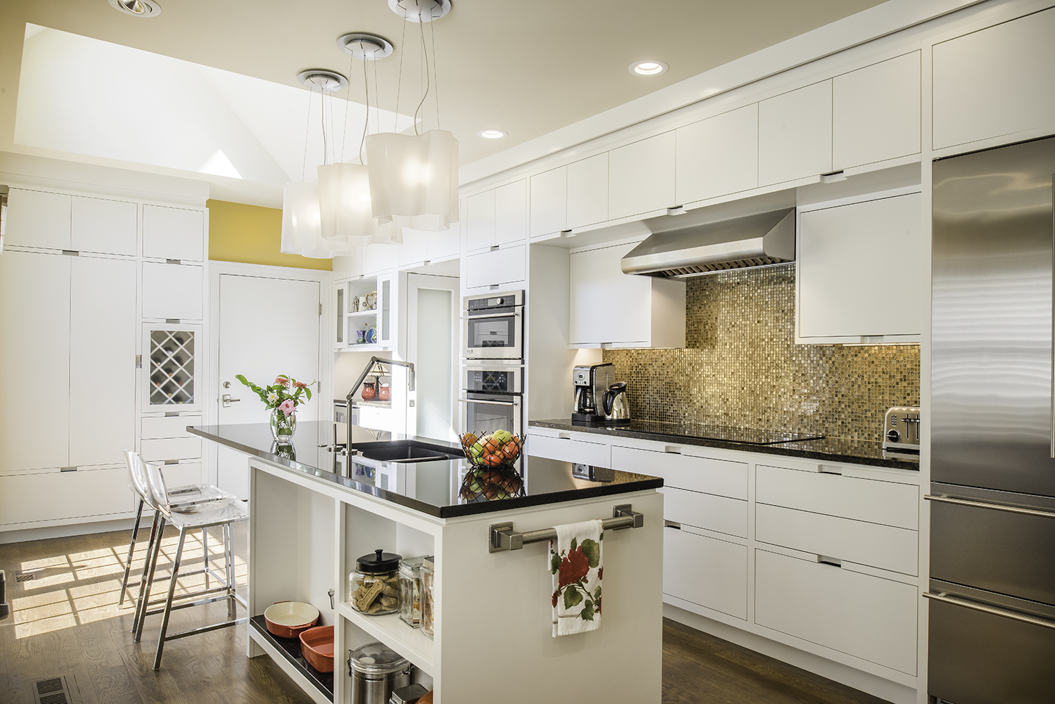 custom solon kitchen white cabinetry gold backsplash