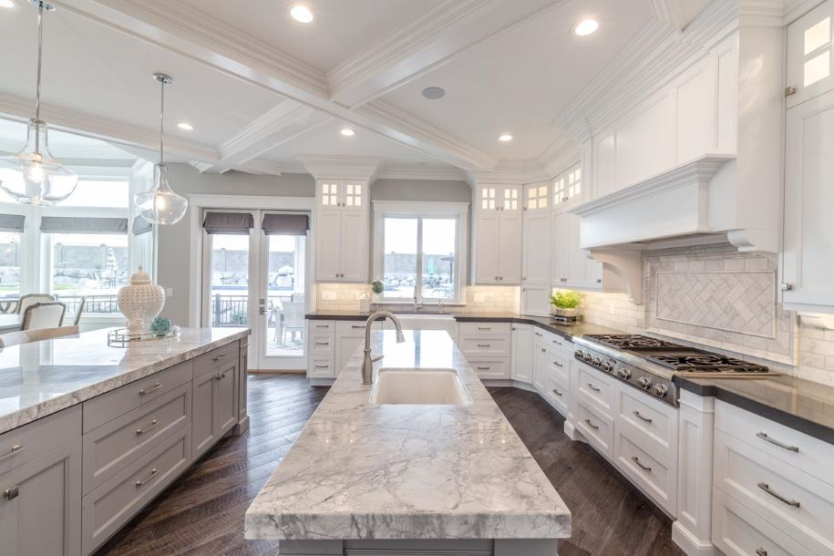 White custom kitchen with white marble counters