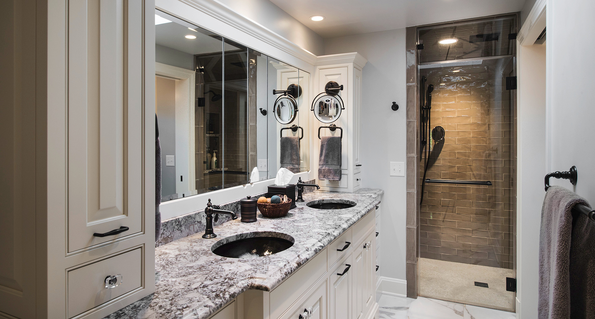 Custom bathroom with spa style shower and high end finishings